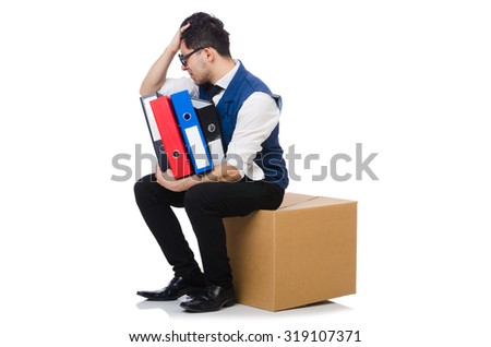 Young employee sitting on the box isolated on white - stock photo