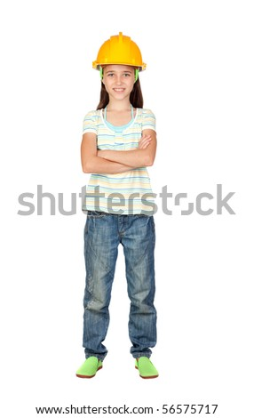 Young engineer girl isolated on white background - stock photo
