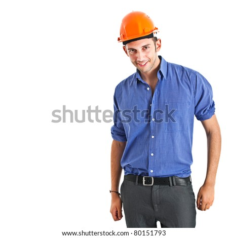 Young engineer isolated on white - stock photo