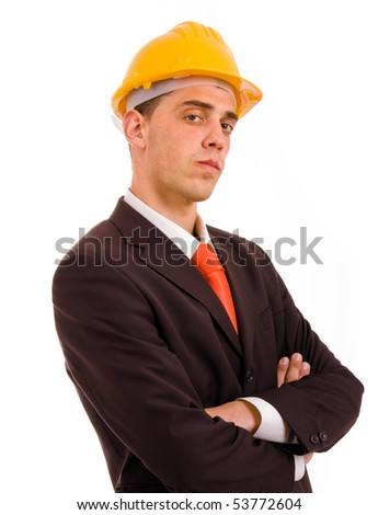 young engineer portrait with a yellow helmet, isolated on white
