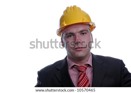 young engineer with yellow helmet, isolated