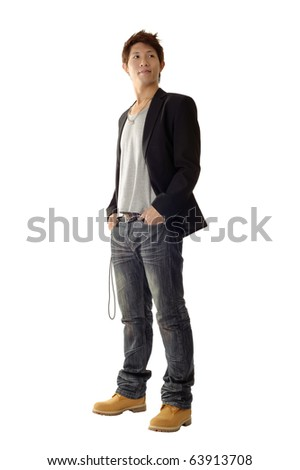 Young entrepreneur with casual clothes and confident expression on face. - stock photo