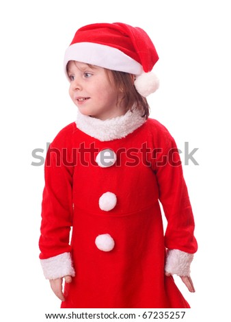 Young european girl in red santa dress, isolated on background - stock photo