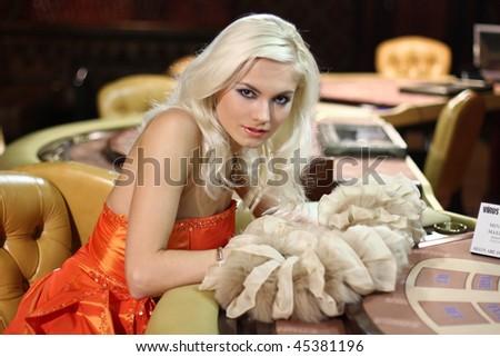 Young europian women in casino - stock photo