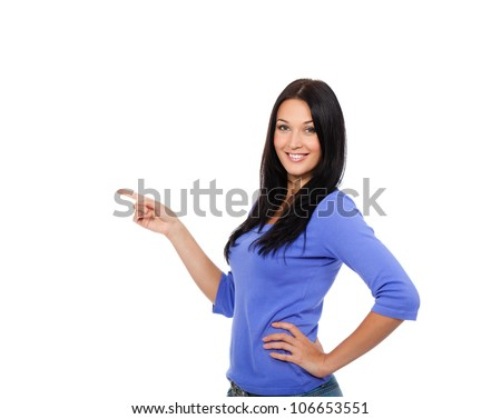 young excited woman point finger showing something to side empty copy space, standing happy smiling holding her hand, concept girl advertisement product, isolated over white background - stock photo