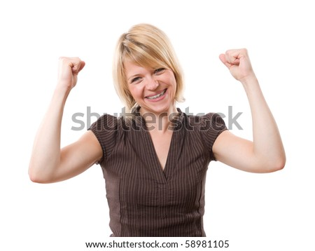 young excited woman smiling isolated on white background - stock photo