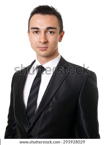 young executive business man wearing suit and tie            - stock photo