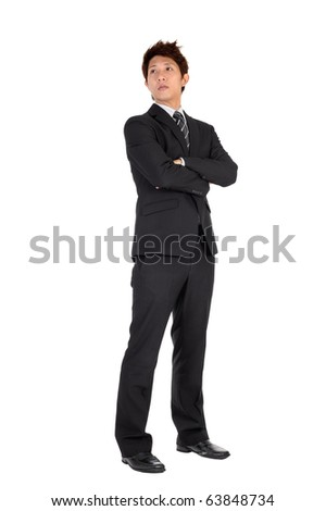 Young executive of Asian, full length portrait isolated on white. - stock photo