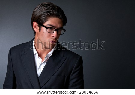Young executive worried and pensive. Space for copy,