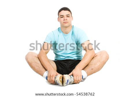 Young exerciser isolate on white - stock photo