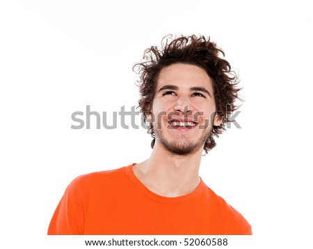 young expressive caucasian man portrait in studio on white background - stock photo