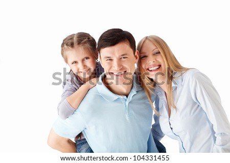 Young families with a child on a white background - stock photo
