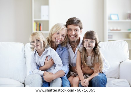 Young families with children at home - stock photo