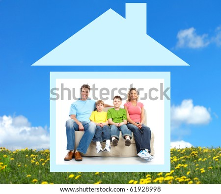 Young family in the new home.  Real estate concept