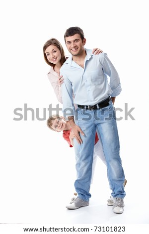 Young family with a child on a white background - stock photo