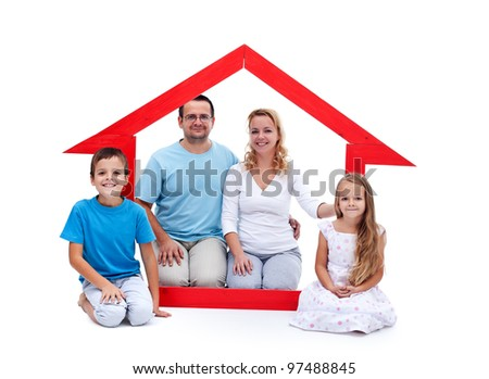 Young family with two kids in their home concept - stock photo
