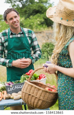 Young farmer selling organic vegetables to pretty blonde at a farmers market - stock photo