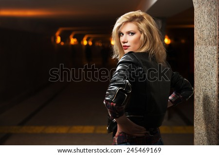 Woman Leather Jacket Stock Photos Royalty-Free Images &amp Vectors