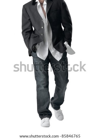 Young fashion man model isolated on white