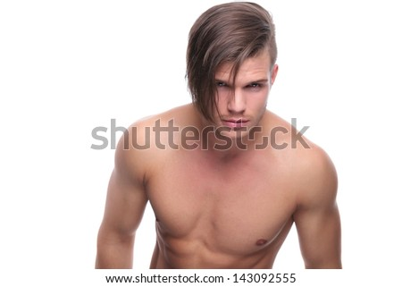 young fashion topless man looking deep into your eyes. isolated on white background - stock photo