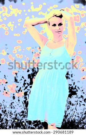 young fashion woman design, pop art - stock photo