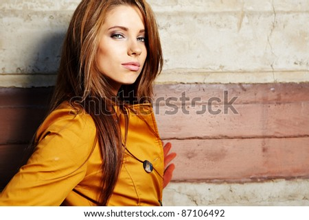 young fashion woman  in autumn color - stock photo