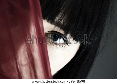 Young fashionable girl arabic style with veil - stock photo