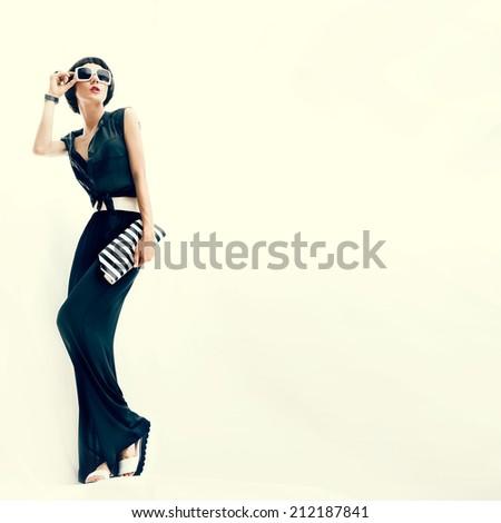 Young fashionable girl. Rio de Janeiro style - stock photo