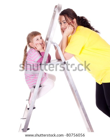 young fat woman and little girl with ladder - stock photo