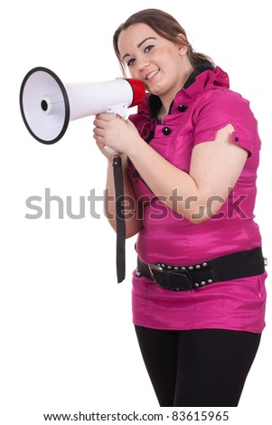 young fat woman in pink blouse with megaphone, series