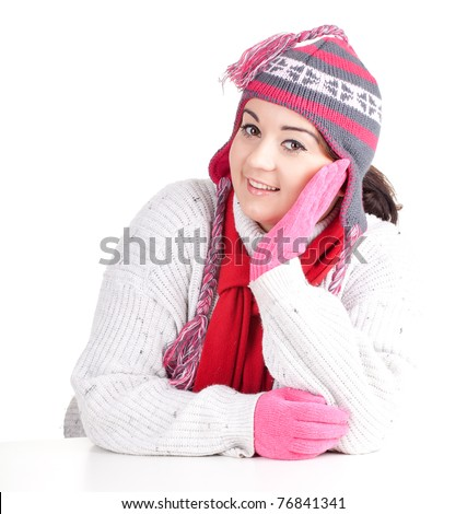 young fat woman in winter hat and mittens - stock photo