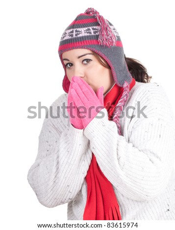 young fat woman in winter hat and mittens, series - stock photo
