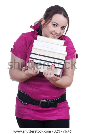 young fat woman student with pile of books - stock photo