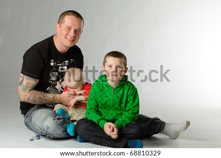 young father and children - stock photo