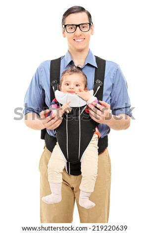 Young father and his baby daughter posing isolated on white background - stock photo