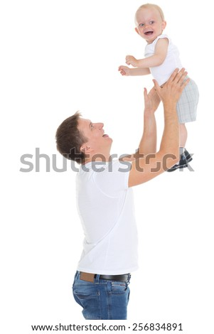 Young father and little child on a white background. Happy family. - stock photo