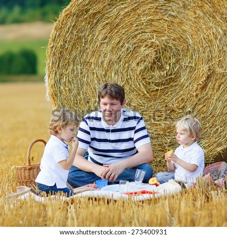 Young father and two little toddler boys having picnic on yellow hay field in summer, outdoors. Sibling kids having fun together. Family leisure. - stock photo