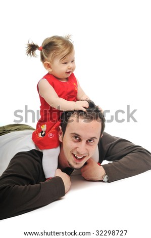 young father man play with beautiful daughter child or baby   isolated on white - stock photo