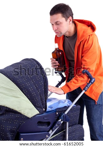 young father with baby buggy drinking alcohol