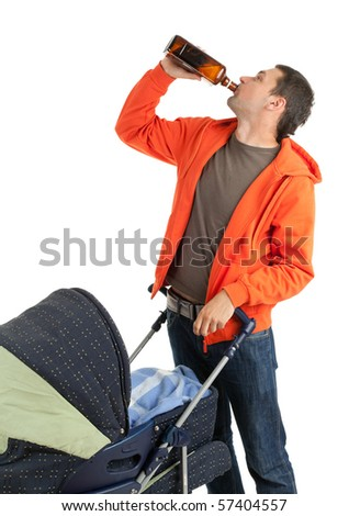 young father with baby  buggy drinking alcohol from brown bottle