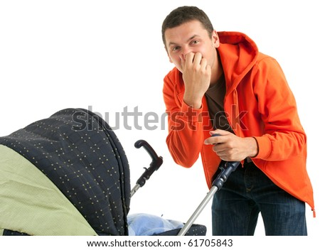 young father with baby  buggy (stroller) on the white background