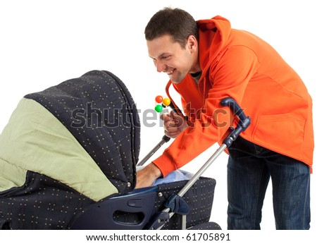 young father with baby  buggy (stroller) on the white background - stock photo