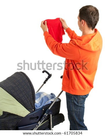 young father with baby  pram (stroller) on the white background - stock photo