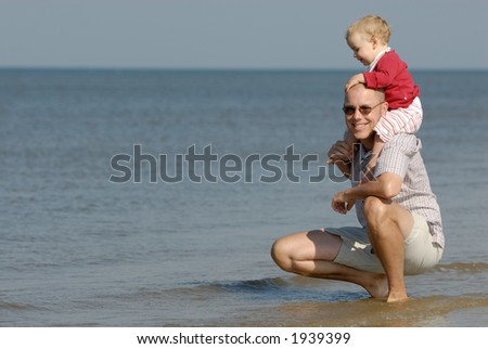 Young father with his daughter - stock photo