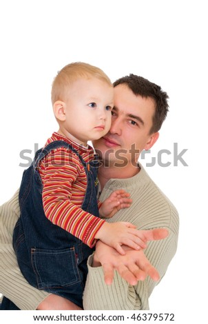 young father with his son at the hands isolated on white - stock photo