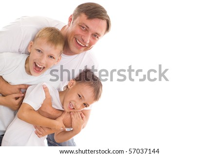 young father with his two sons - stock photo