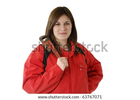 young female apprentice in  red coverall with screscent wrench isolated on white - stock photo