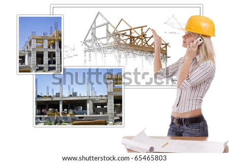 Young Female architect presenting the house plan - stock photo