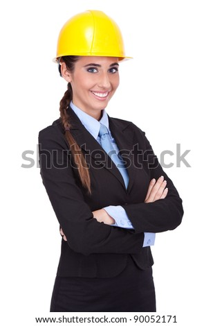 young female architect with yellow hard hat, isolated on white background
