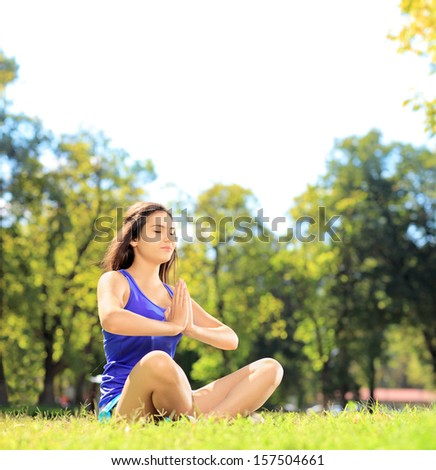 Young female athlete in sportswear doing yoga exercise seated on a green grass in a park, shot with a tilt and shift lens - stock photo
